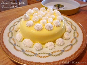 Elegant Jello dessert with cream