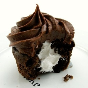 white filled chocolate cupcake
